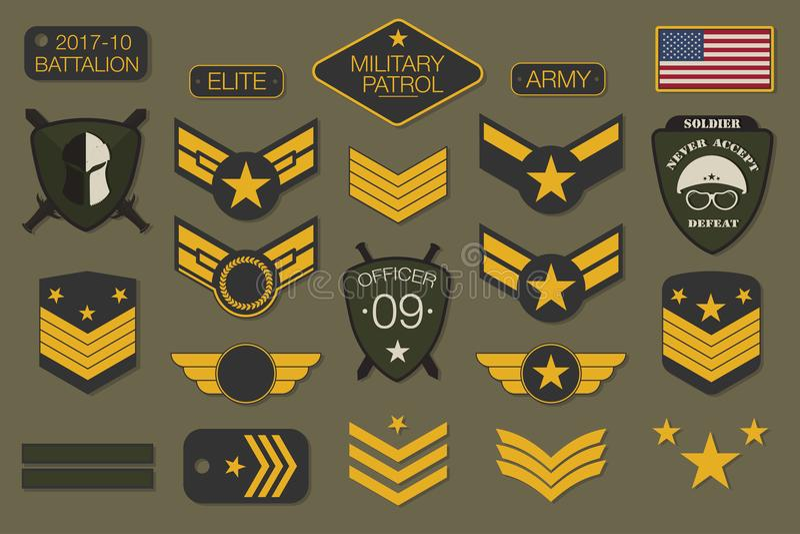 Crachás e tipografia militares dos remendos do exército A viga e o pino militares do bordado projetam para o gráfico do t-shirt ilustração royalty free