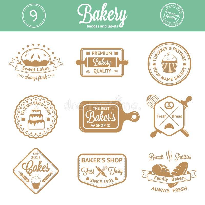 Crachás, etiquetas e logotipos da padaria do vintage ilustração stock