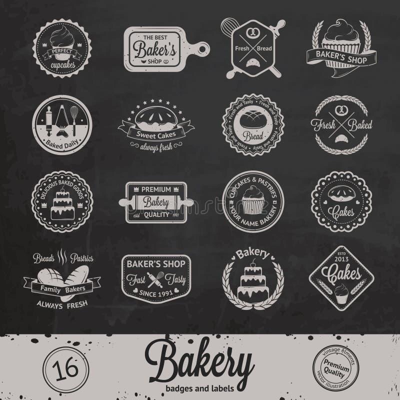 Crachás, etiquetas e logotipos da padaria do vintage ilustração royalty free