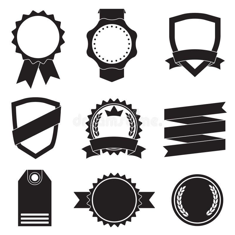 Crachás, etiquetas, etiquetas, protetores e fitas ajustados Ilustração do vintage do vetor isolada no fundo branco ilustração do vetor
