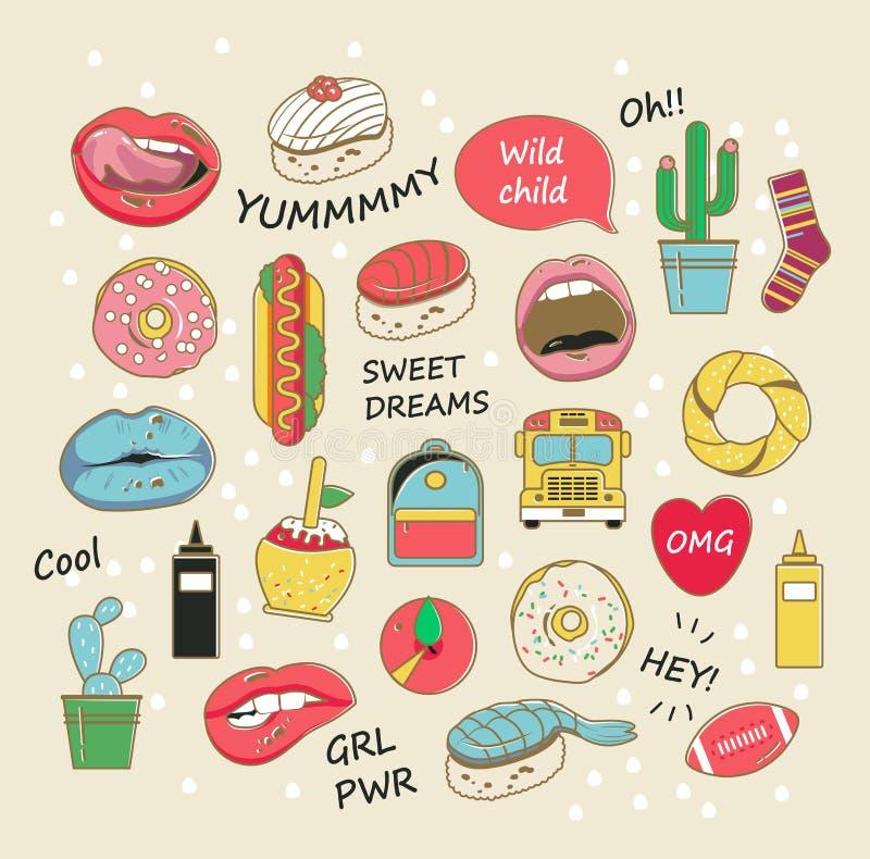 Crachás na moda do remendo do vetor nas cores pastel Bordos, anéis de espuma, cactos e outros elementos para meninas ilustração do vetor