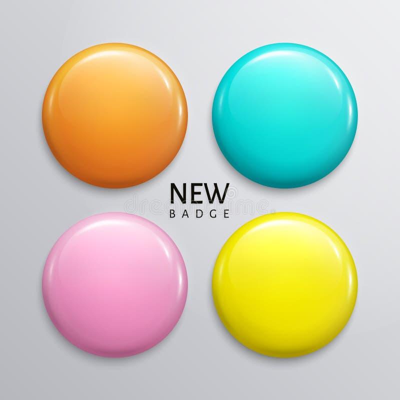 Crachás, pino ou botão lustroso vazio da Web Quatro cores pastel, amarelos, laranjas, turquesas e roxos Vetor ilustração do vetor