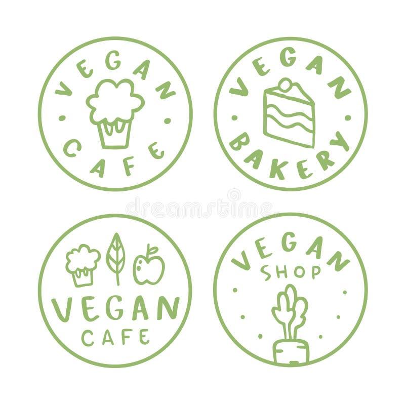 Crachás redondos do vegetariano ilustração do vetor