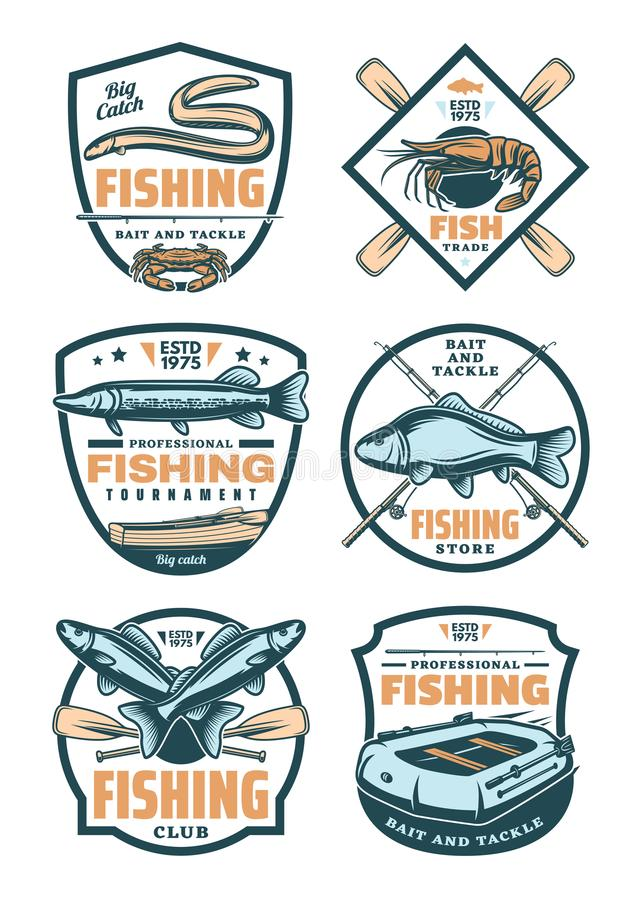 Crachás retros da loja do clube e do fisher da pesca ilustração do vetor