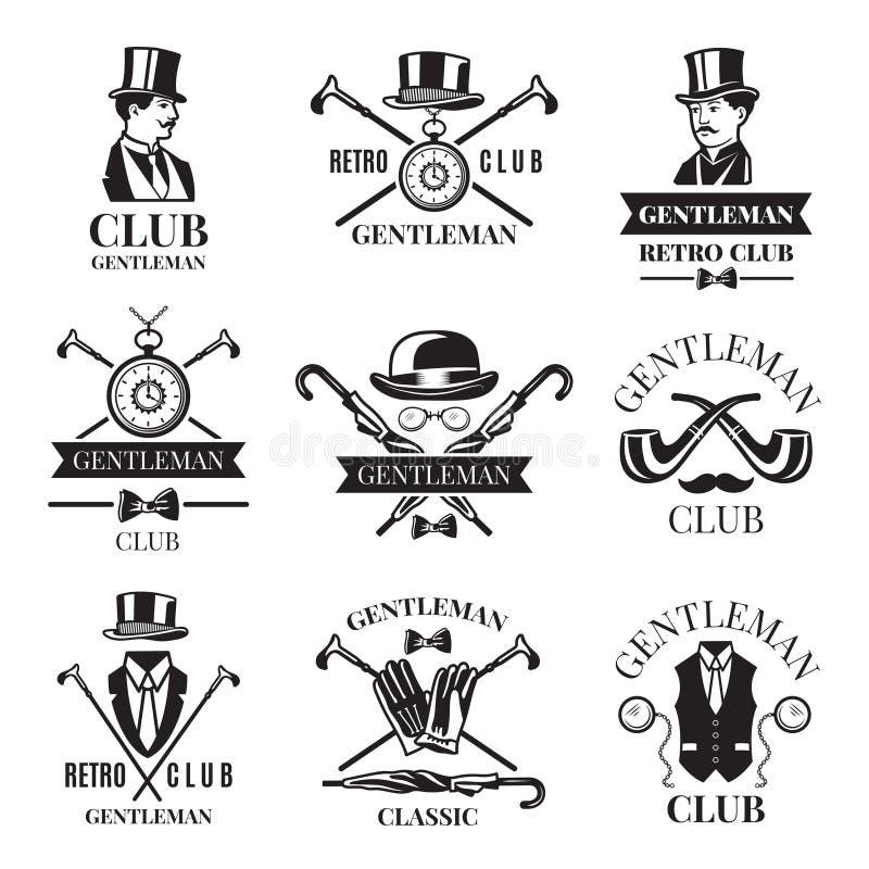 Crachás retros ou grupo de etiquetas para o clube do cavalheiro Os logotipos projetam o molde com lugar para seu texto ilustração do vetor