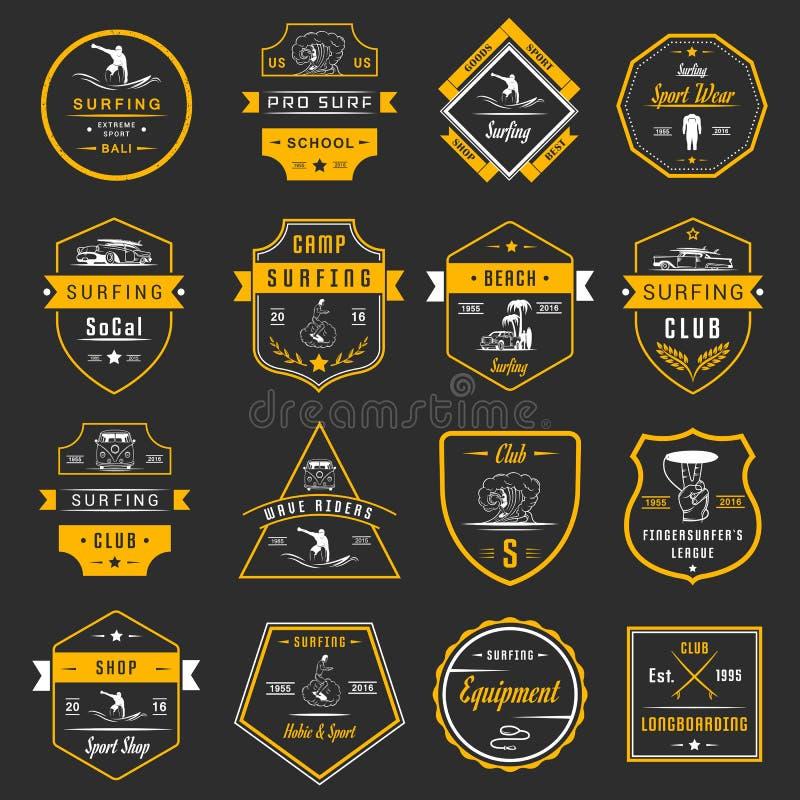 Crachás, sinal e logotipos ajustados da ressaca do vetor ilustração royalty free