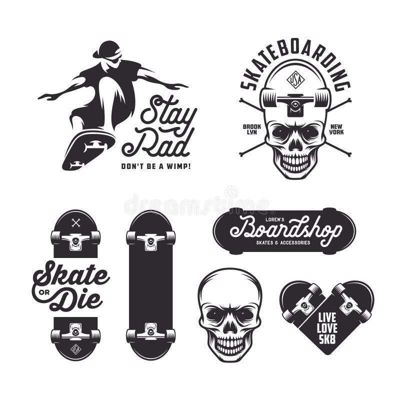 Crachás Skateboarding das etiquetas ajustados Ilustração do vintage do vetor ilustração royalty free