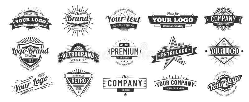 Crach? do vintage Crachás retros do logotipo da marca, etiqueta da empresa e grupo da ilustração do vetor do quadro do moderno ilustração stock