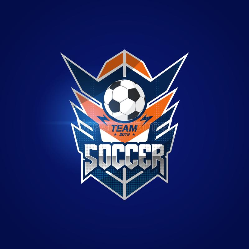 Crach? Logo Design Templates do futebol do futebol | Esporte Team Identity Vetora Illustrations isolado no fundo azul ilustração do vetor