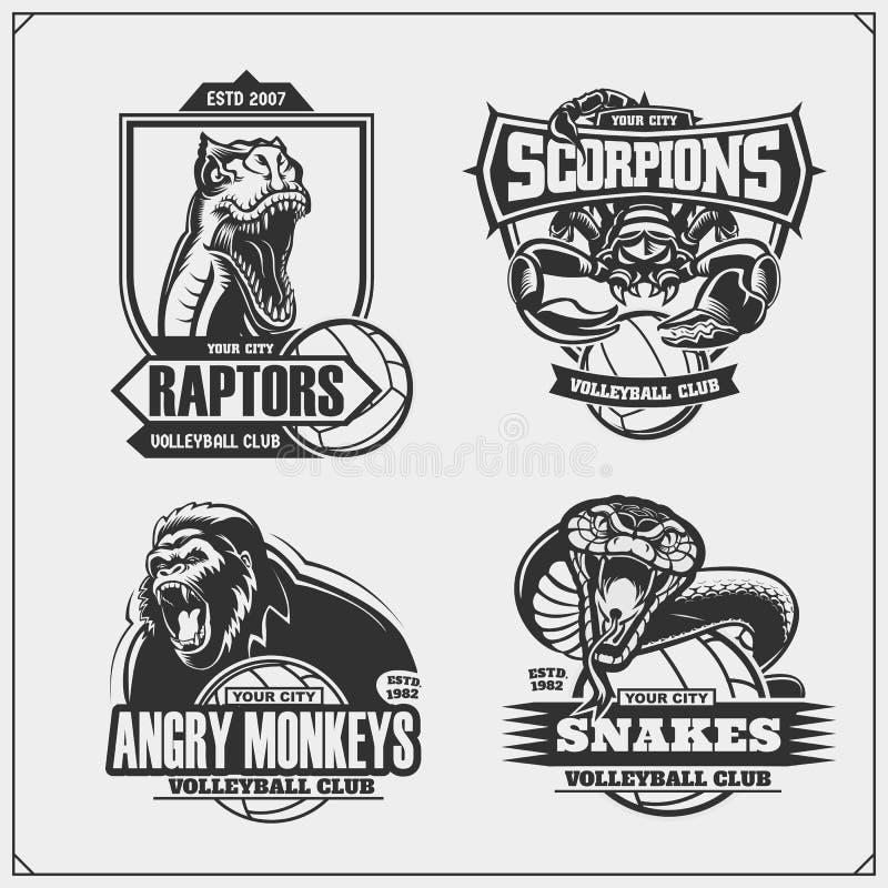 Crach?s do voleibol, etiquetas e elementos do projeto O clube de esporte simboliza com leão, cobra, dinossauro da ave de rapina e ilustração stock