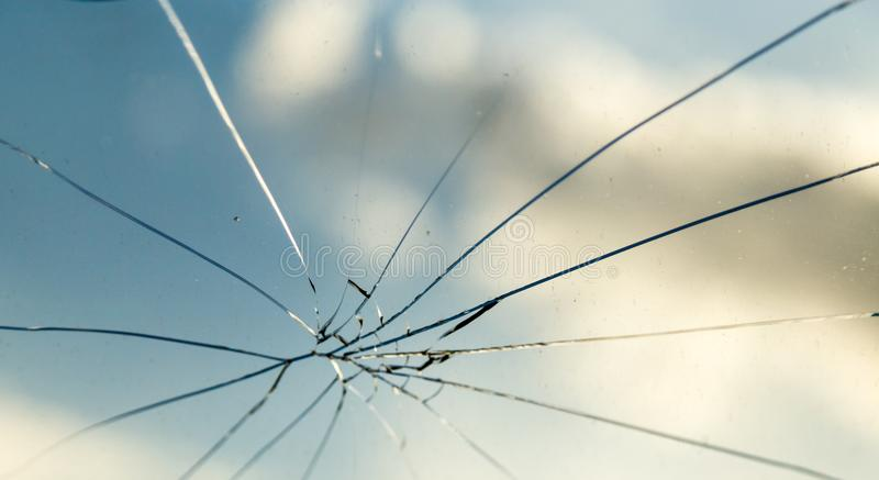 Crack on the auto glass as a background royalty free stock image