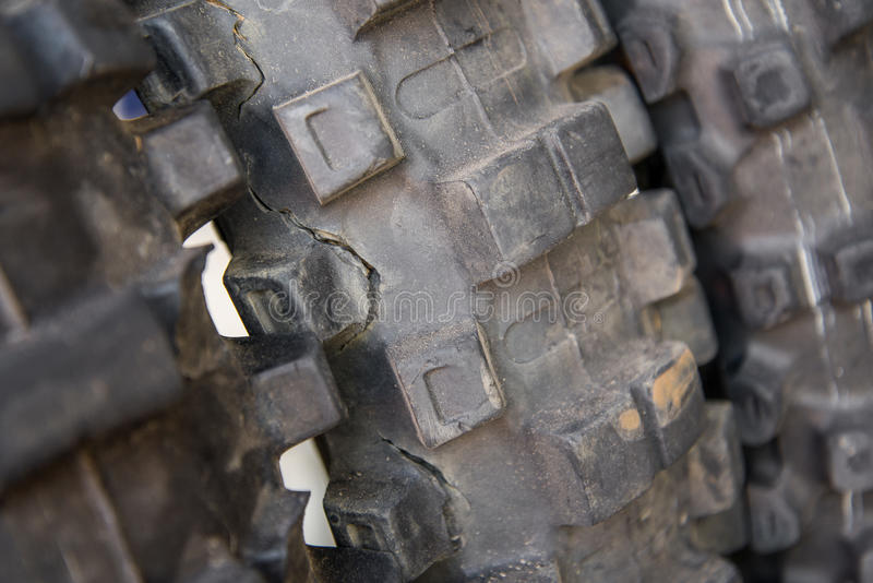 Crack,Dirty, Used Motocross Bike tire. Concept for article royalty free stock photo