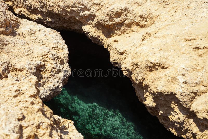 Crack after earthquake. Ras Muhammad National Park in Egypt. Open crack in the land, caused by earthquakes royalty free stock images