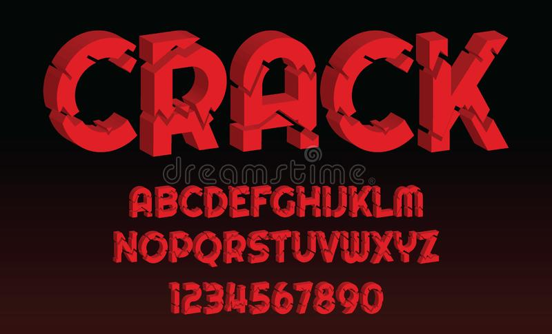 Crack font design letters and numbers Vector alphabet. Red Crack font design letters and numbers vintage Vector alphabet illustration royalty free illustration