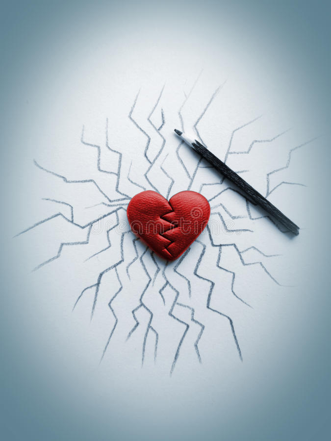 Crack heart royalty free stock photography