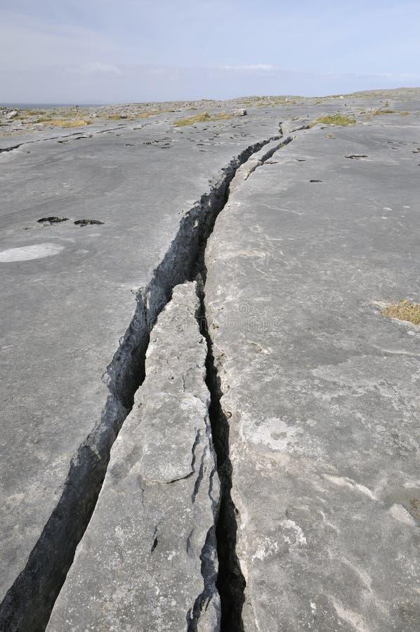 Crack In Limestone Pavement Stock Photo