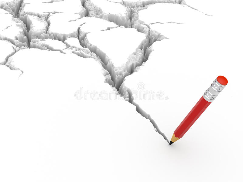 Crack and pencil. Crack and Truth pencil (crack formed from the pencil stock illustration