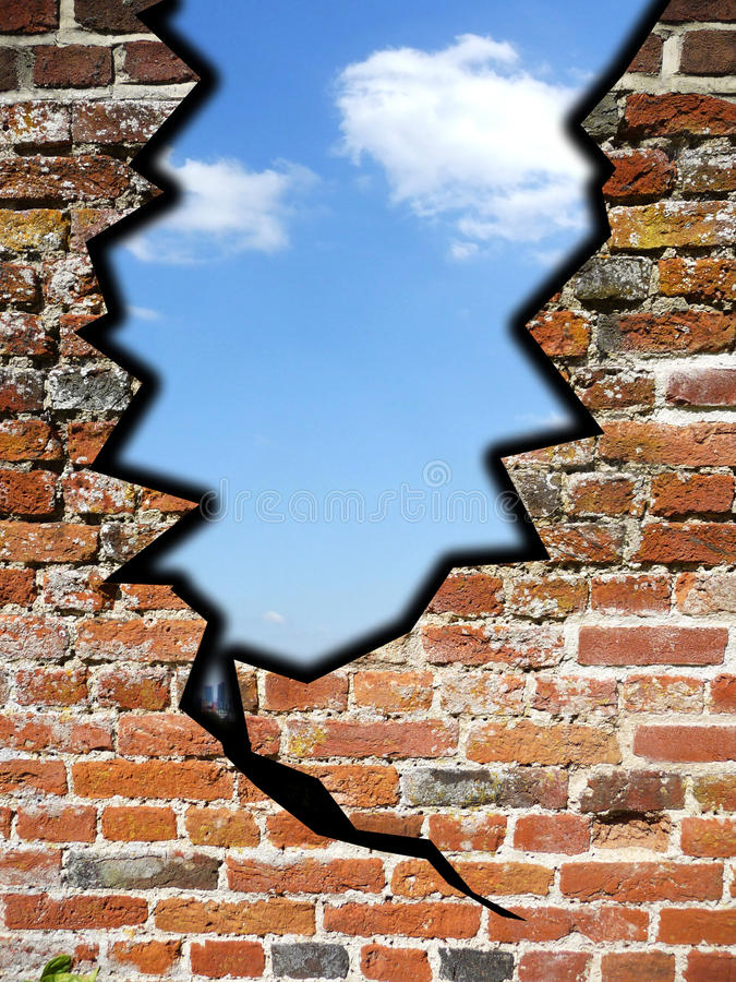 Download Crack In The Wall stock image. Image of brick, climate - 12217201