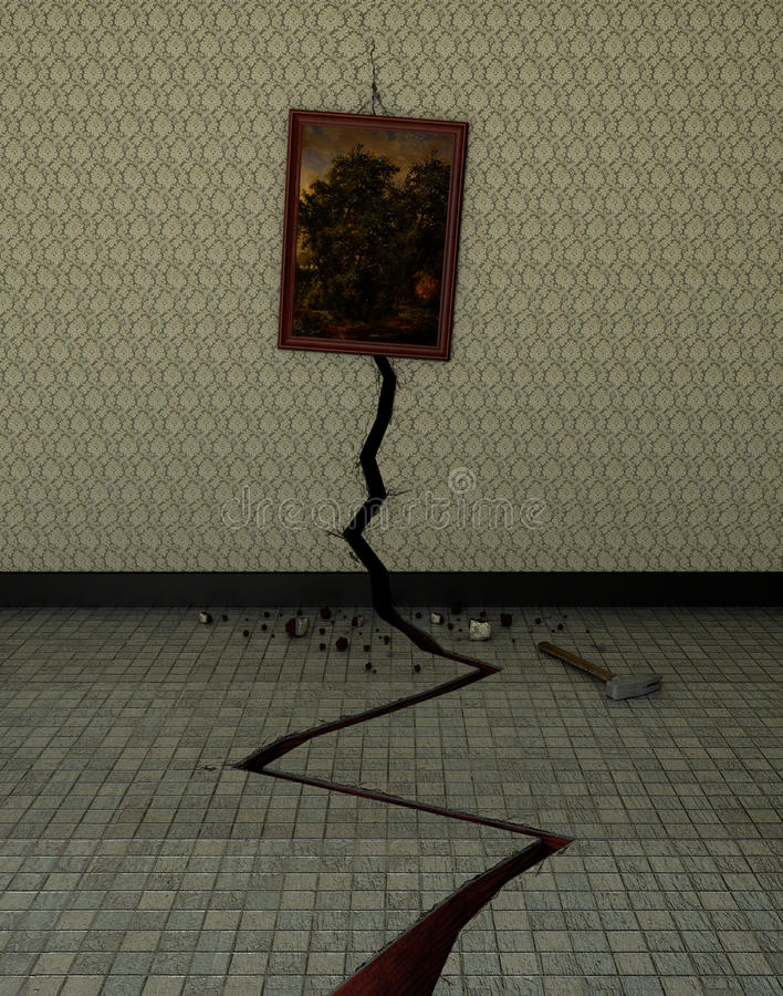 A crack in the wall. Caused by a hammer blow too strong royalty free illustration