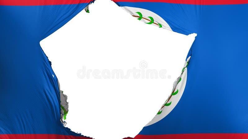 Cracked Belize flag. White background, 3d rendering vector illustration