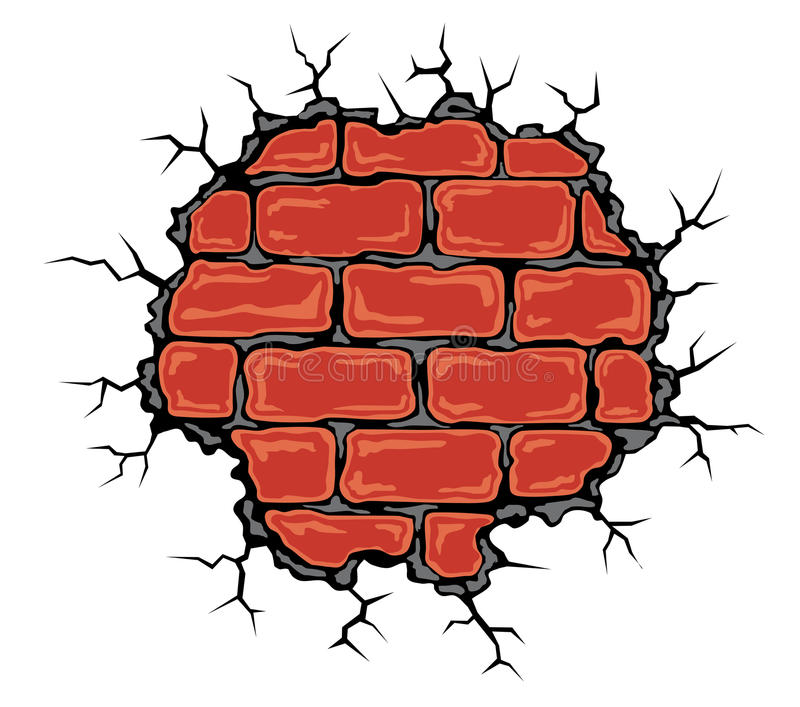 cracked birck wall stock vector illustration of cement 46031580 rh dreamstime com Cartoon Brick Holes in Walls Clip Art Block Wall