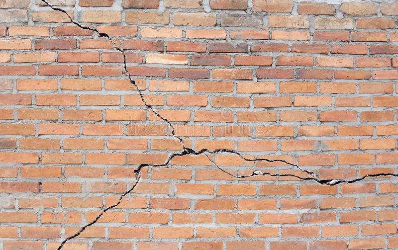 Cracked brick foundation stock image
