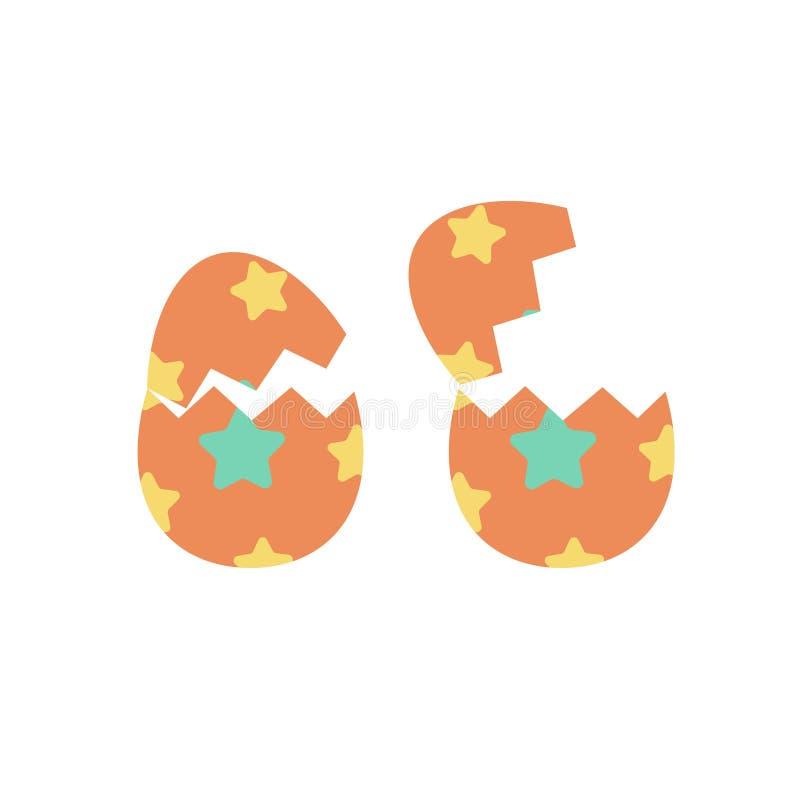 Cracked or broken easter eggs isolated vector set, flat cartoon crack paschal egg on white background clipart. Cracked or broken easter eggs isolated vector set stock illustration