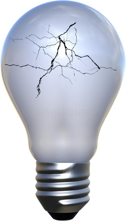 Cracked Broken Light Bulb stock photography