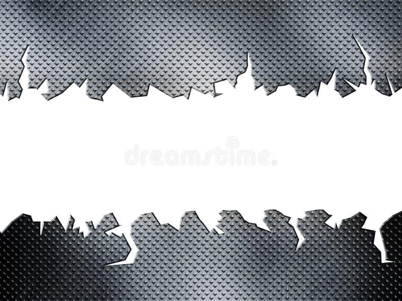 Cracked diamond metal plate royalty free illustration