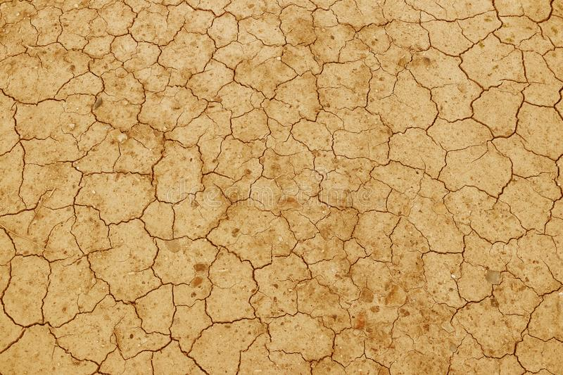 The cracked, dried earth is yellow. A desert without water. Arid ground. Thirst for moisture on a lifeless space. Ecological situa stock photo
