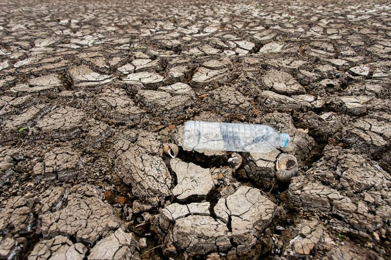 Cracked dry land without wate royalty free stock photo