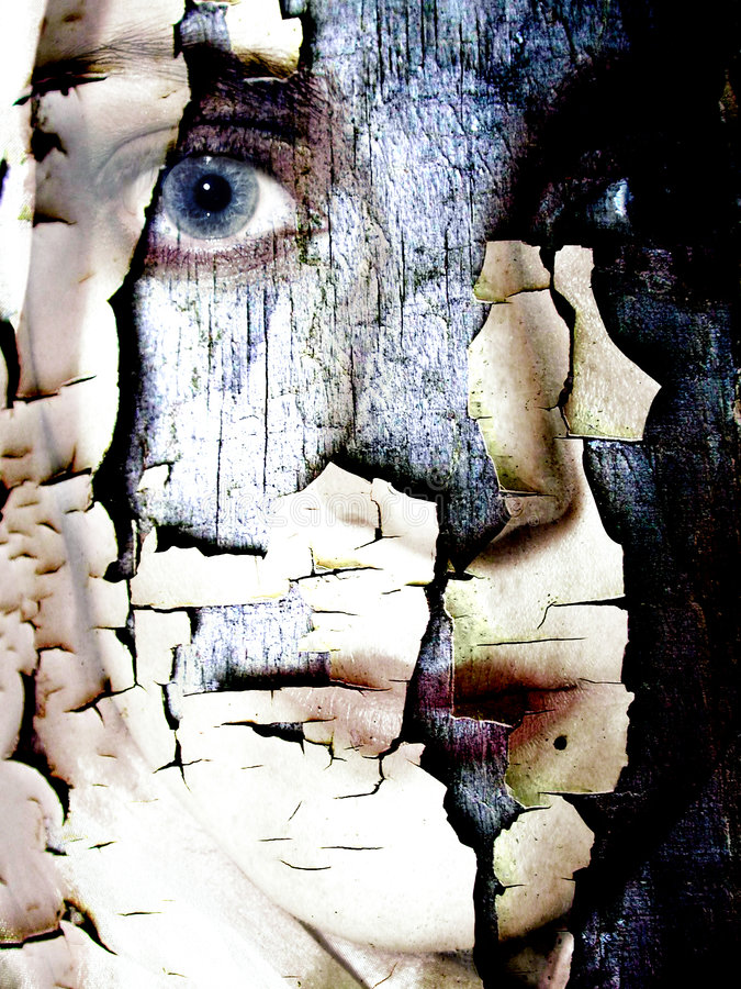 Cracked Dry Skin Female Face. An abstract portrait of a woman which could represent emotional problems, dry skin, or plastic cosmetic surgery gone wrong! Yikes