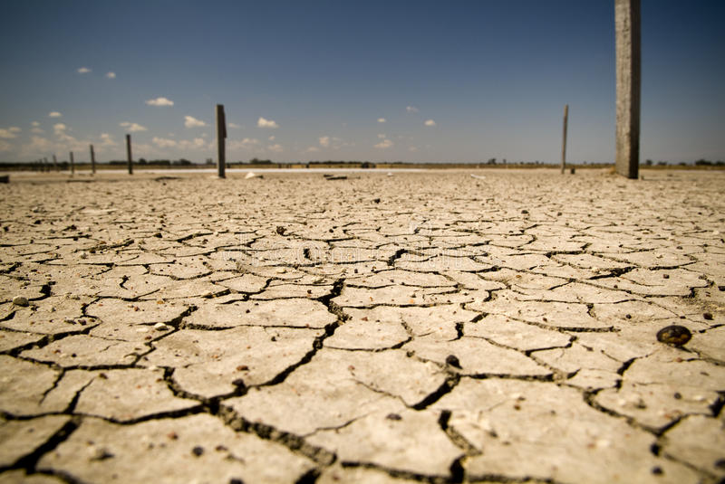 Cracked Earth. Badly cracked earth under a scorching sun stock photography