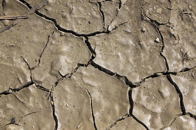 Cracked earth, cracked soil. texture of grungy dry cracking parched earth. Global worming effect royalty free stock photography
