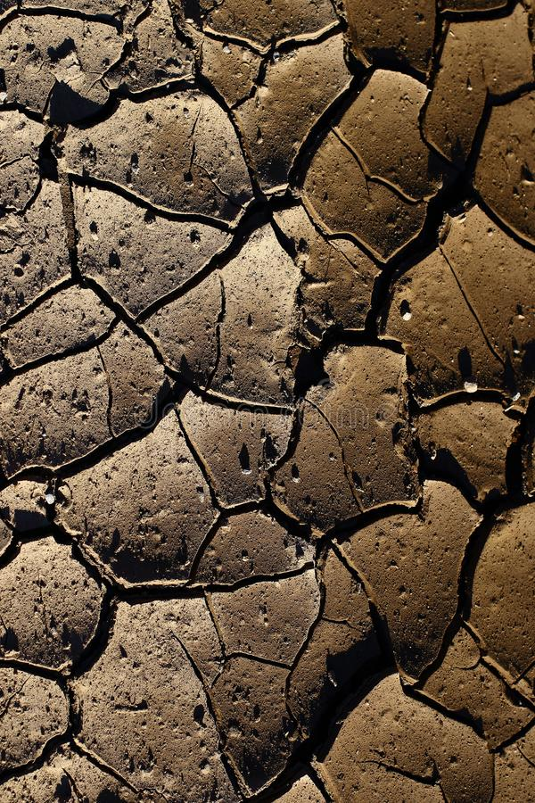 Cracked earth due to the heat from the sun. Patterns in the dry cracked earth for wallpaper or background use in portrait format with copy space