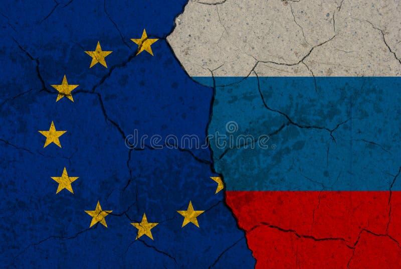 Cracked EU vs Russia flags vector illustration