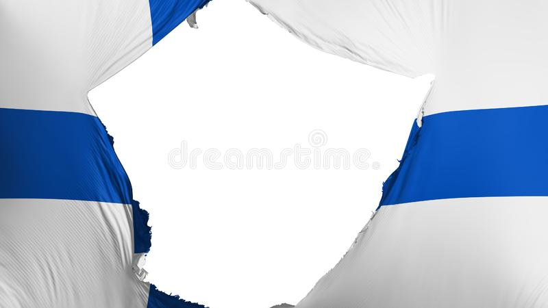 Cracked Finland flag. White background, 3d rendering vector illustration