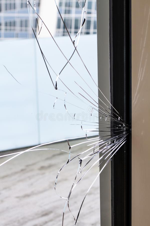 Cracked glass of a building royalty free stock images