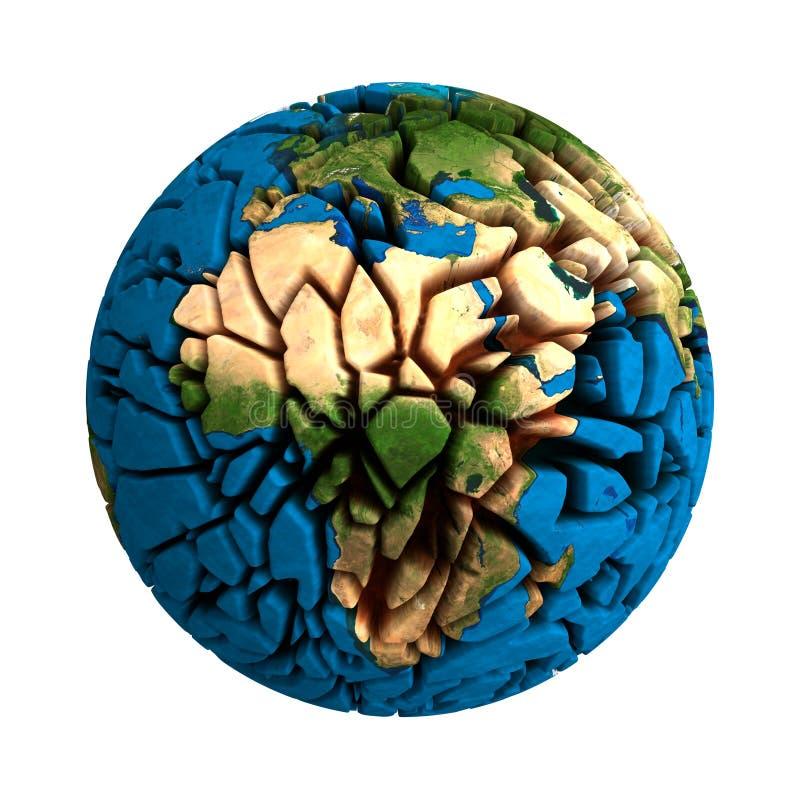 Cracked Globe Earth broken 3D planet royalty free illustration