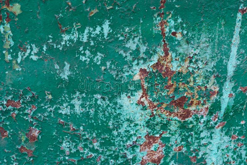 Green and blue cracked paint rusted texture stock photos