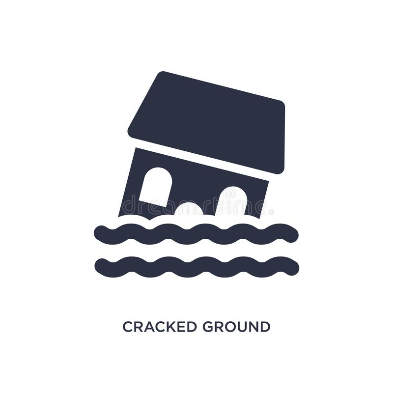 Cracked ground between houses icon on white background. Simple element illustration from meteorology concept. Cracked ground between houses icon. Simple element vector illustration