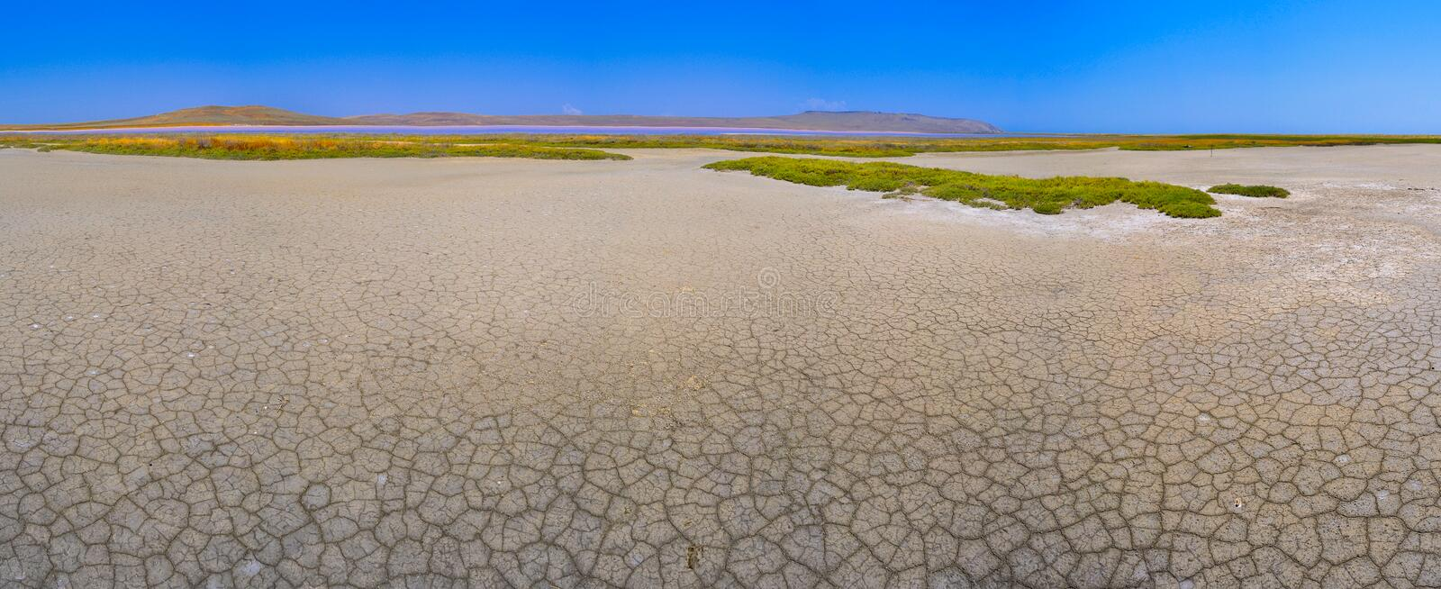 Cracked ground in place of a dry during. A drought stock images