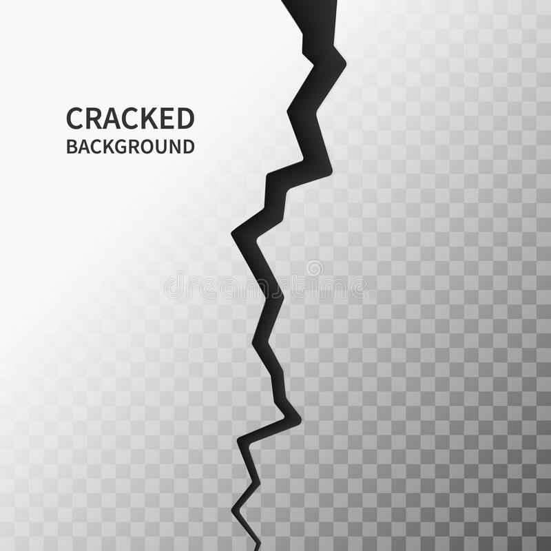 Cracked ground surface. Realistic crack texture on transparent background. Earth crack. Rift on surface. Split terrain. After earthquake. Crack on the wall or stock illustration