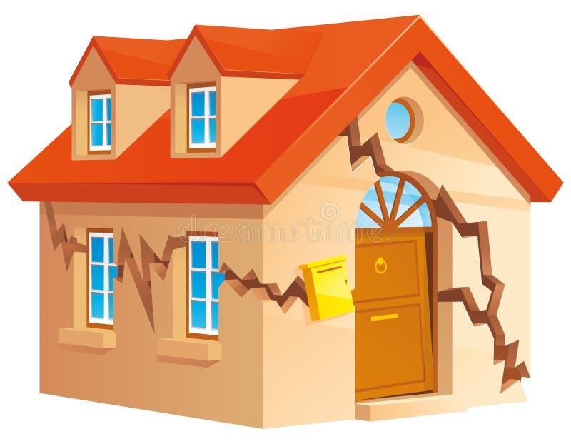 Cracked house. Isolated illustration of Cracked house royalty free illustration