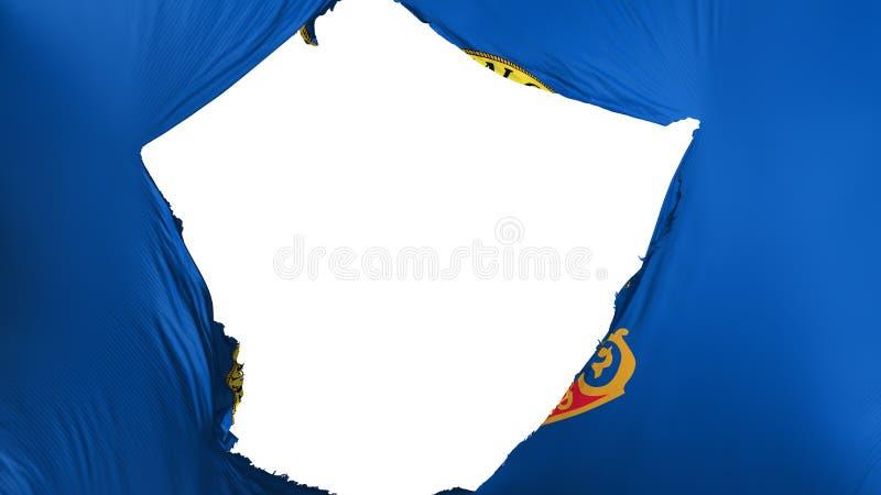 Cracked Idaho state flag. White background, 3d rendering vector illustration