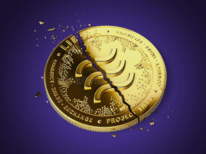 Cracked Libra concept coin is laying on violet background. Investors are pulling back out of Libra project concept. 3D rendering. Cracked Libra concept coin is royalty free illustration