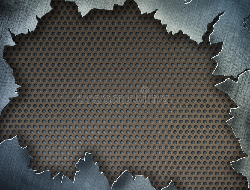 Cracked metal texture or frame or template royalty free illustration
