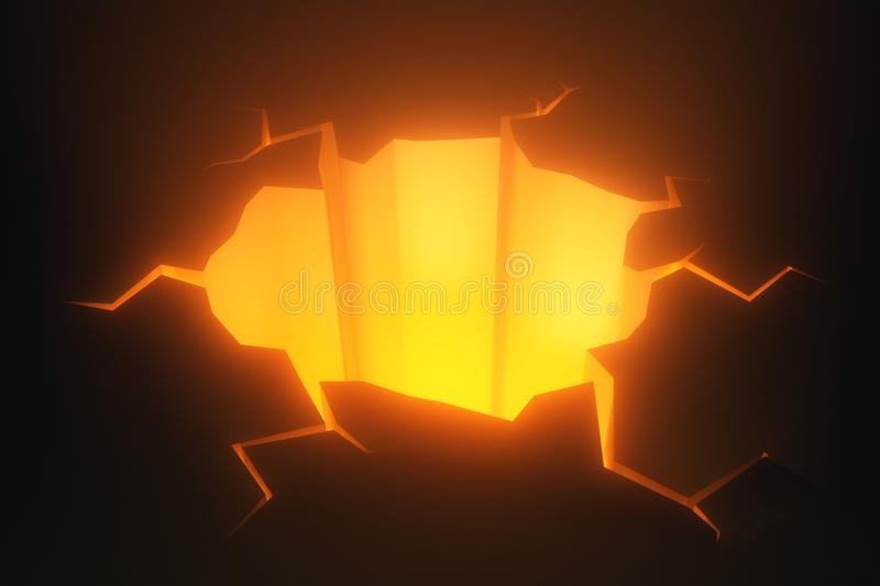 Cracked natural ground hole with hot glowing lava stock illustration