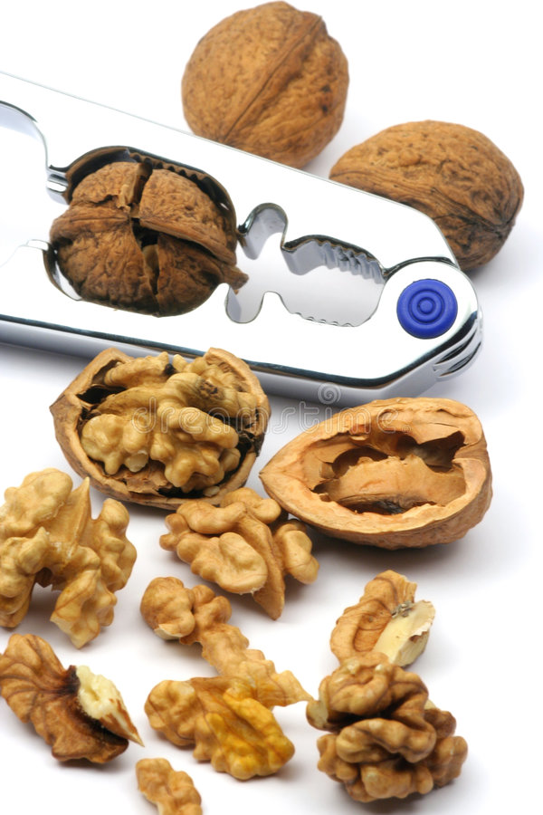 Cracked nuts stock images