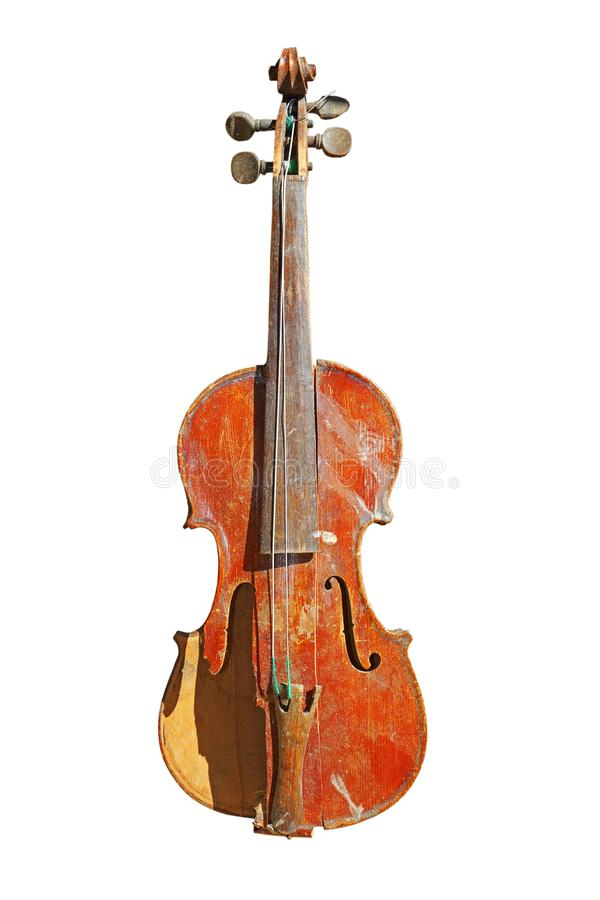 Cracked old violin over white royalty free stock photo